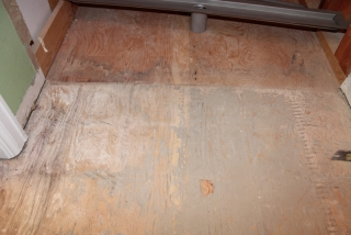 marking the shower floor for laticrete linear drain