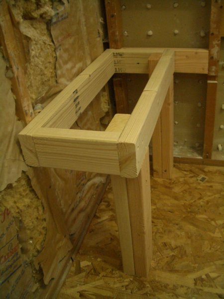 Rectangular shower bench frame6341