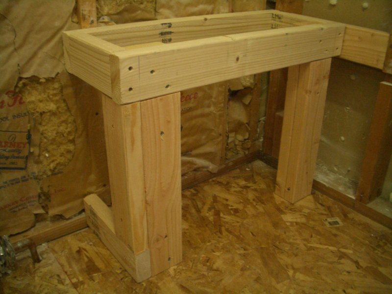 Rectangular shower bench frame6344