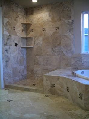 Travertine and glass master bathroom installation contractor in fort Collins