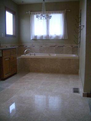 Marble master bathroom shower tile installation in Fort Collins, Colorado