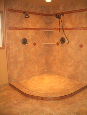 Porcelain tile and glass master bathroom installation contractor in Fort Collins, Colorado