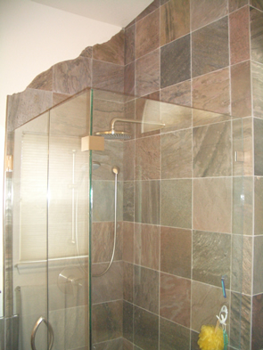 Slate master bathroom tile installation contractor in Erie, Colorado