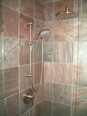 Custom Slate master bathroom shower tile installation in Erie, Colorado