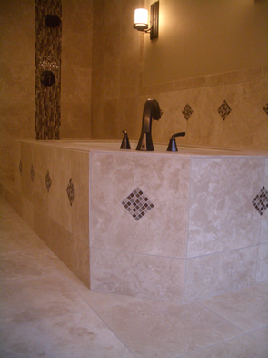 Travertine and glass tile installation contractor in Fort Collins, Colorado