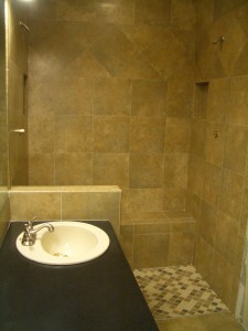Completed tile shower with double niche