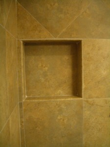 Completed tile shower niche