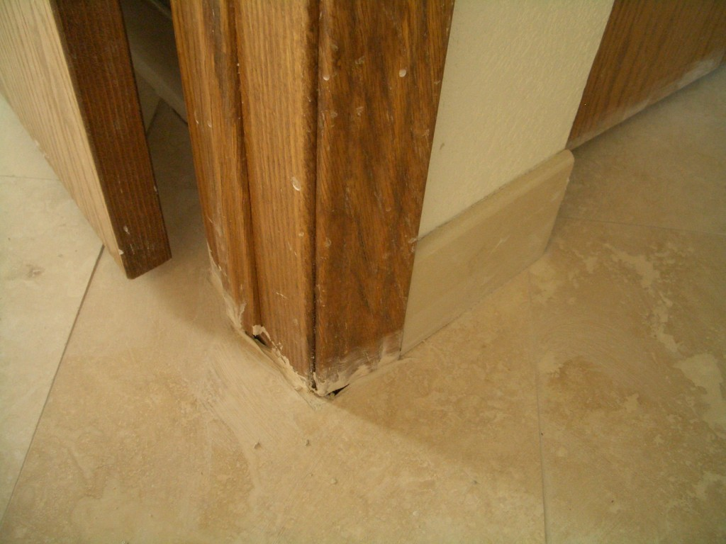 Flawed tile work for Door undercut