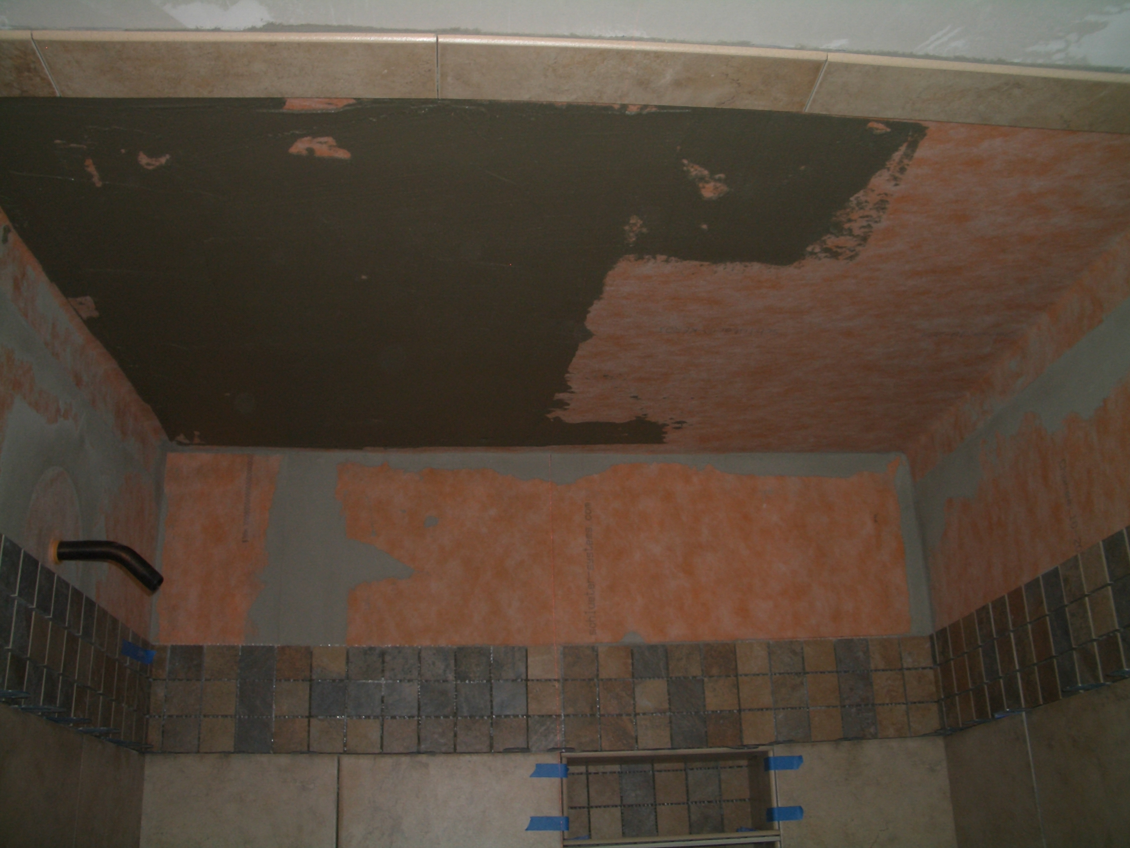 How to install tile on a shower ceiling burning thinset into the substrate dailygadgetfo Images