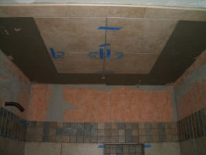 Ceiling partially tiled