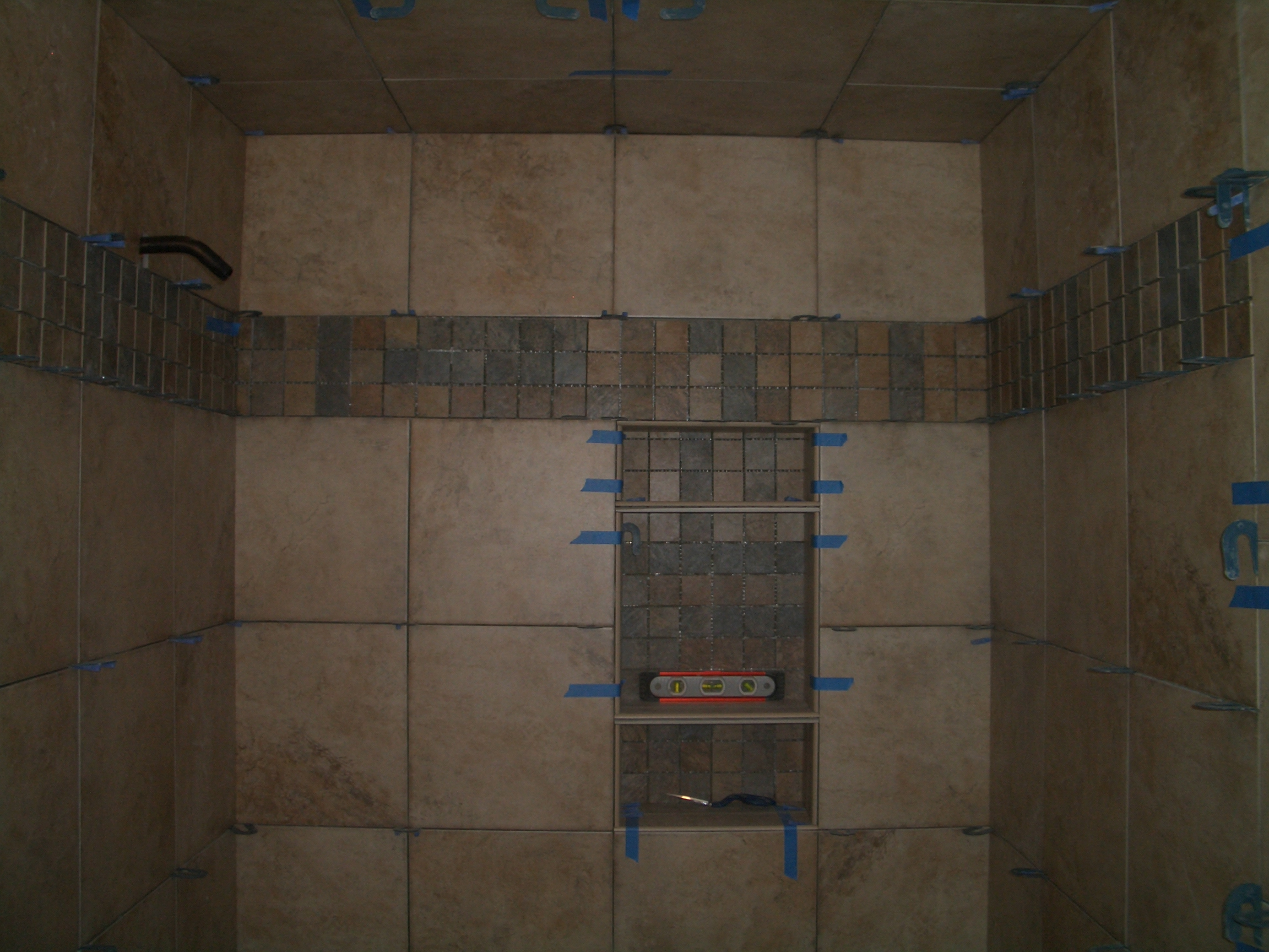 How to install tile on a shower ceiling completed tiled shower ceiling dailygadgetfo Choice Image