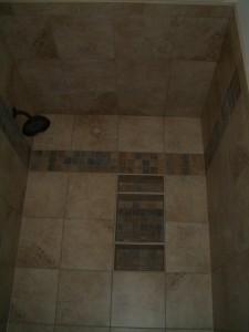 Finished tiled shower ceiling