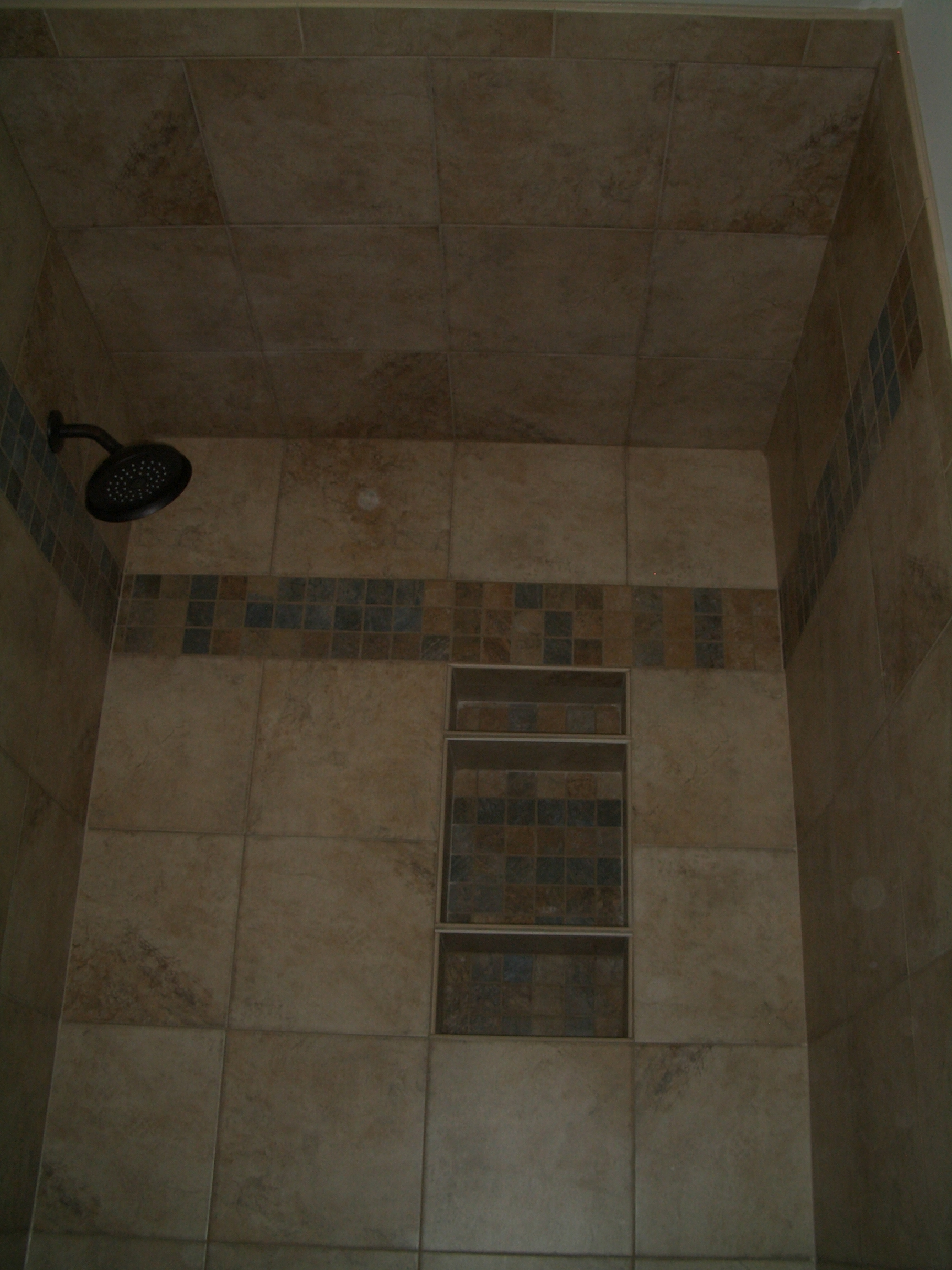 To install tile on a shower ceiling finished tiled shower ceiling dailygadgetfo Gallery