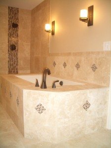 travertine with glass