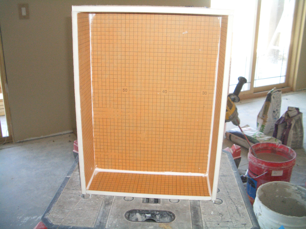 orange sn schluter niche x in kerdi niches p board shower
