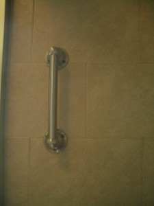 Waterproof grab bar installed