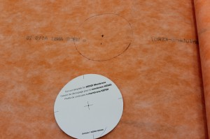 Cutout markings on kerdi membrane